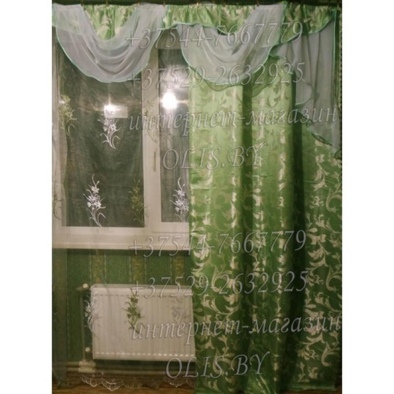 Диана. Салатовая. Готовый комплект штор. Шторы для зала, гостиной, спальни