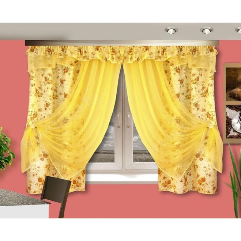 Ксюша. Готовый комплект штор для спальни и кухни.