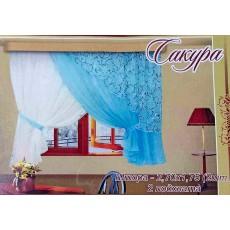 Сакура. Готовый комплект штор для спальни и кухни.