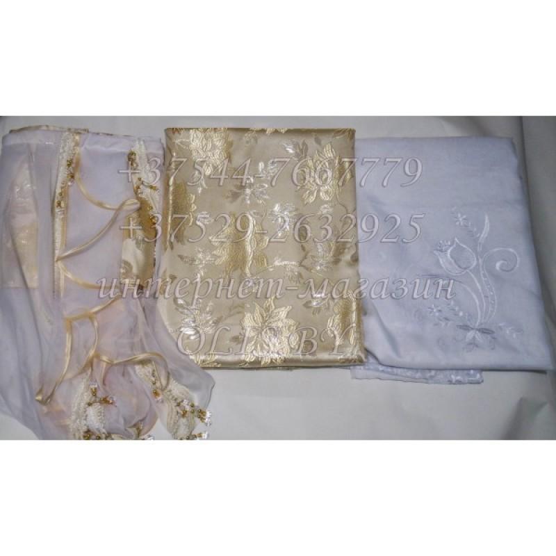 Королевские. Белое золото. Готовый комплект штор. Шторы для зала, гостиной, спальни