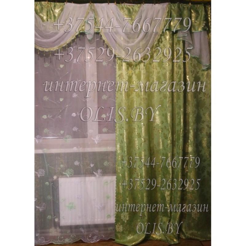 Королевские. Салатовые, оливковые. Готовый комплект штор. Шторы для зала, гостиной, спальни