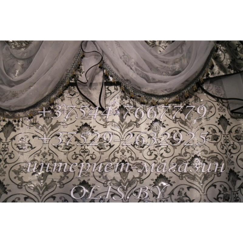 Королевские. Серебро. Орнаменд. Готовый комплект штор. Шторы для зала, гостиной, спальни