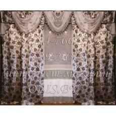 Королевские. Серебро. Розы. Готовый комплект штор. Шторы для зала, гостиной, спальни