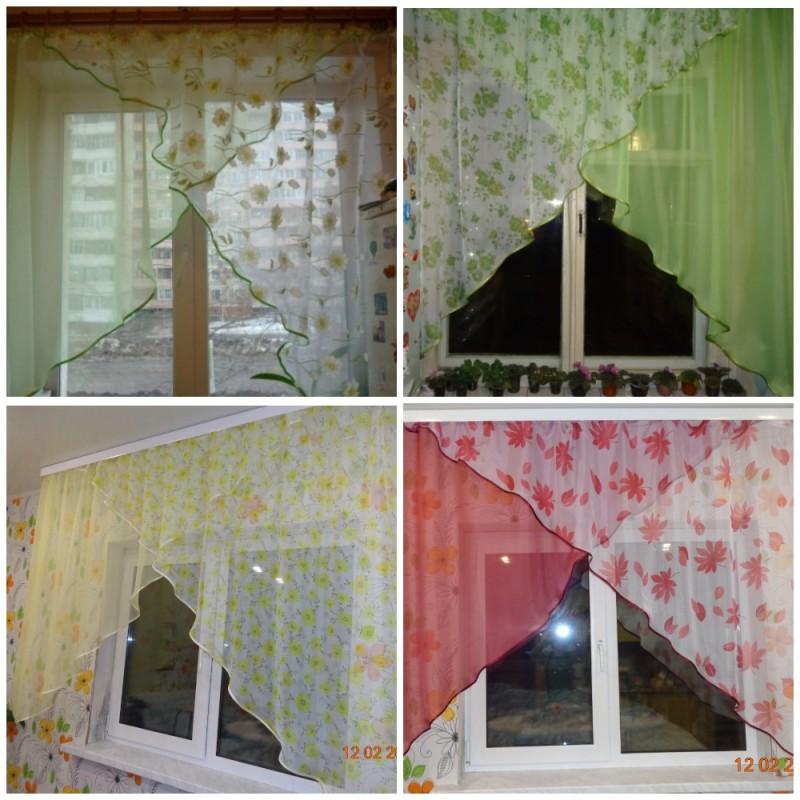 Углы. Готовый комплект штор для спальни и кухни.